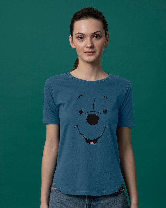 Shop Minimal Pooh Basic Round Hem T-Shirt-Front