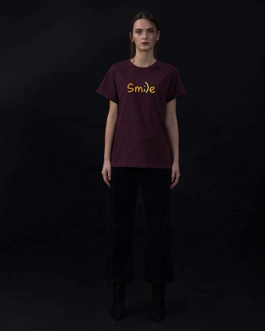 Shop Minimal Smile Boyfriend T-Shirt-Full
