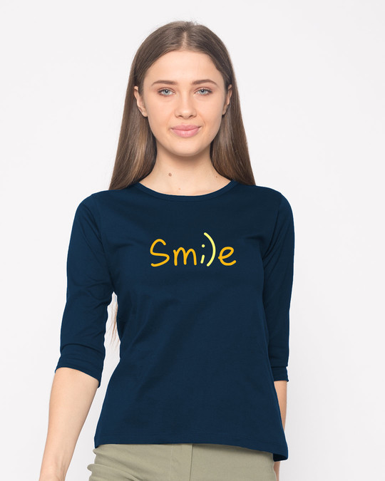 Shop Minimal Smile Round Neck 3/4th Sleeve T-Shirt-Front