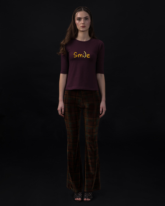 Shop Minimal Smile Round Neck 3/4th Sleeve T-Shirt-Full