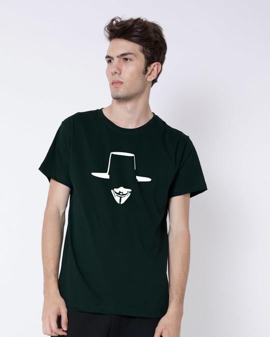 Shop Minimal V Half Sleeve T-Shirt-Back