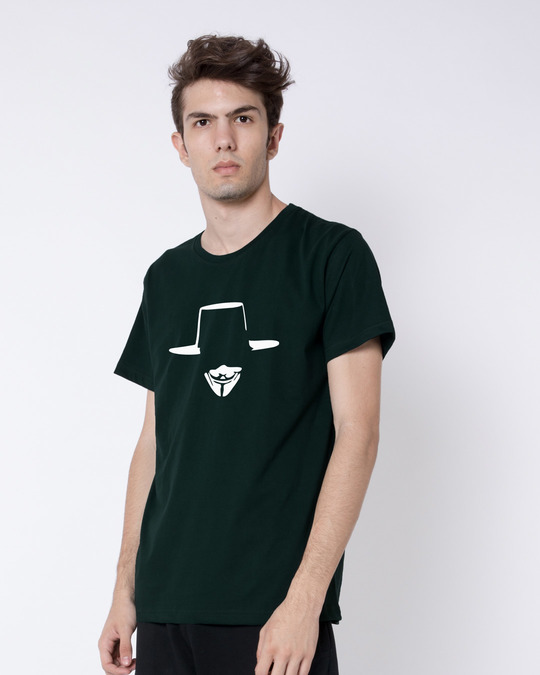 Shop Minimal V Half Sleeve T-Shirt-Full