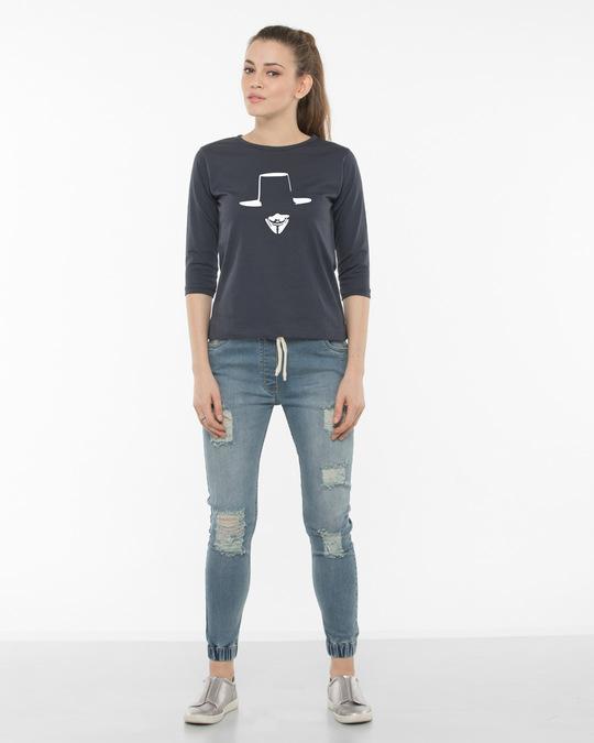 Shop Minimal V Round Neck 3/4th Sleeve T-Shirt-Full