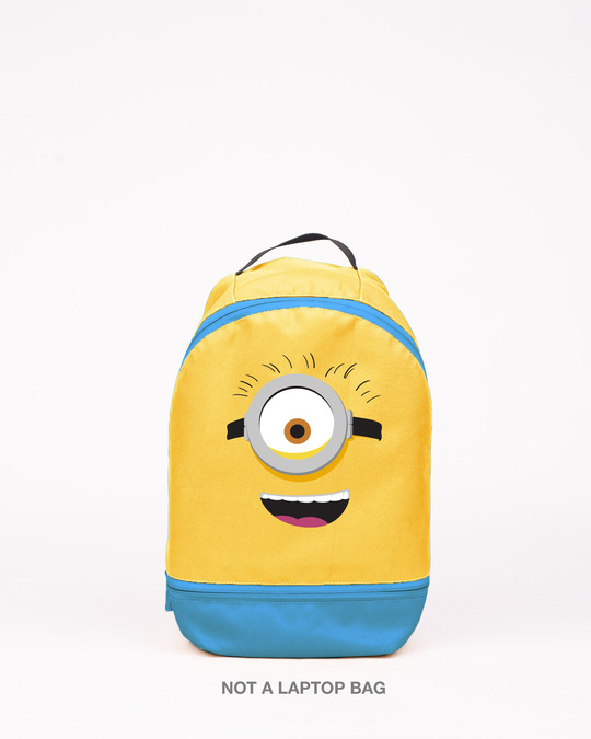 Shop Minion Smile Printed Small Backpack-Front