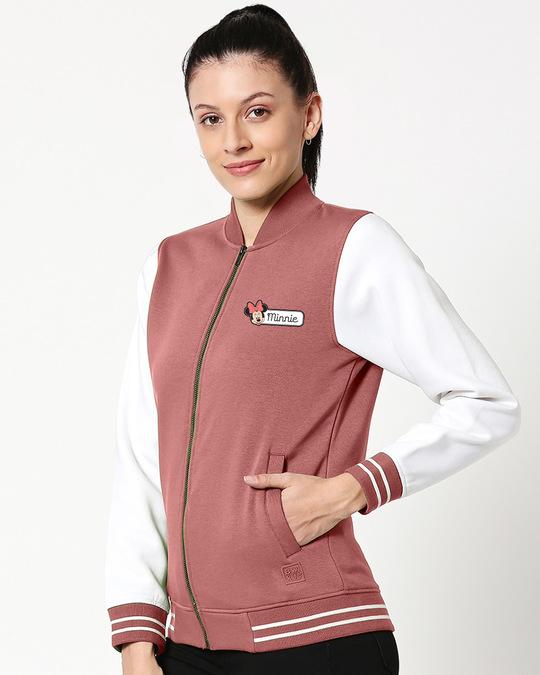 Shop Minnie Badge Varsity Bomber Jacket-Back
