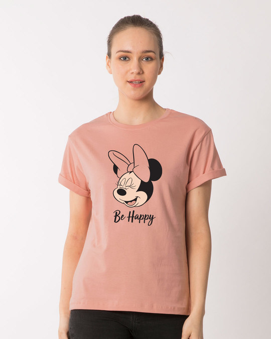 Shop Minnie Be Happy Boyfriend T-Shirt (DL)-Front