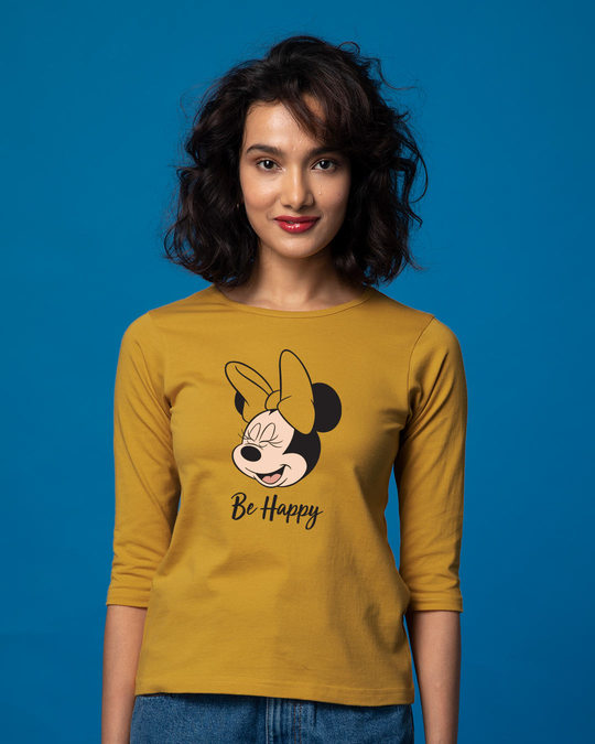 Shop Minnie Be Happy Round Neck 3/4th Sleeve T-Shirt (DL)-Front