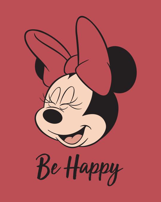 Shop Minnie Be Happy Round Neck Crop Top T-Shirt-Full