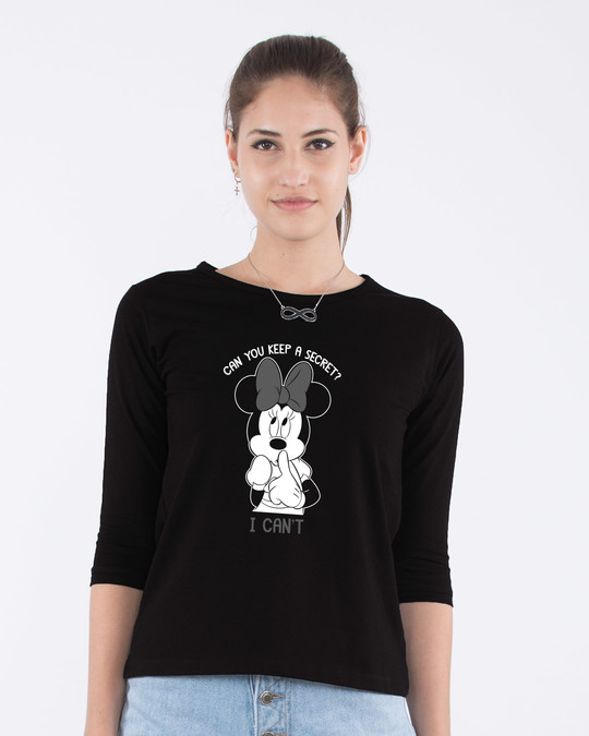 Shop Minnie Can't Round Neck 3/4th Sleeve T-Shirt (DL)-Front