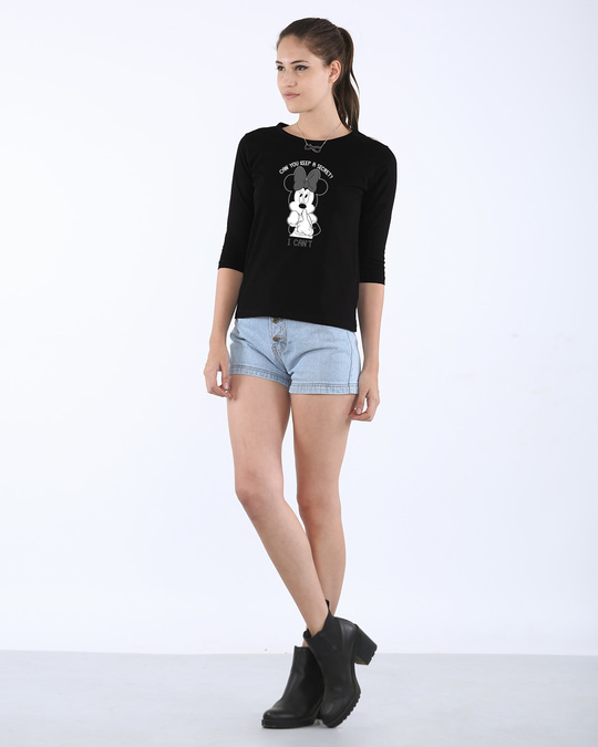 Shop Minnie Can't Round Neck 3/4th Sleeve T-Shirt (DL)-Full
