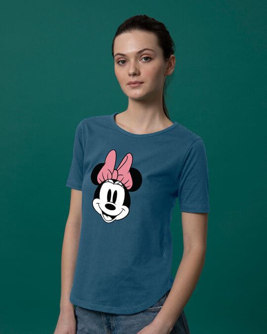 Shop Minnie Face Basic Round Hem T-Shirt (DL)-Back