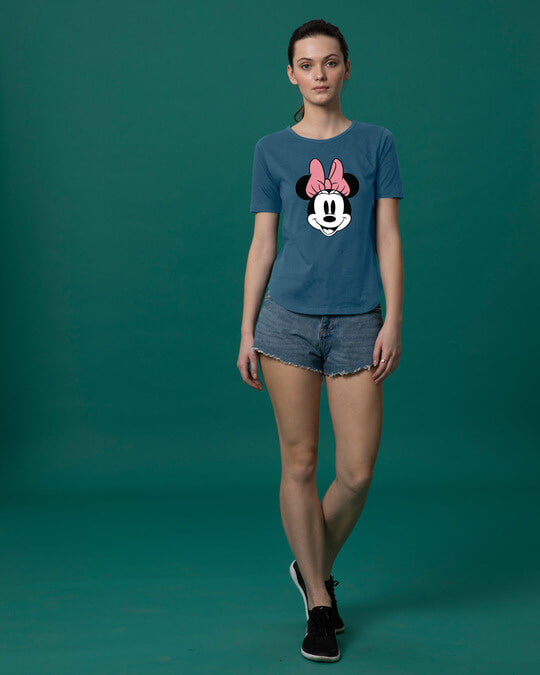 Shop Minnie Face Basic Round Hem T-Shirt (DL)-Full