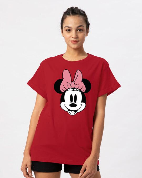 Shop Minnie Face Boyfriend T-Shirt (DL)-Front