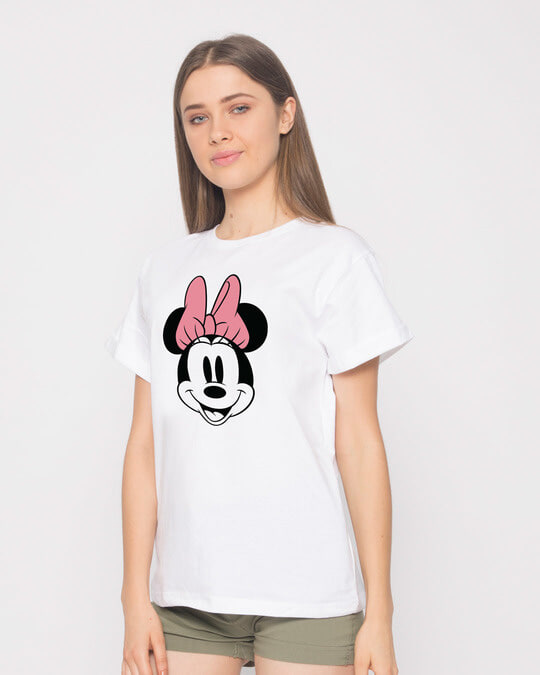 Shop Minnie Face Boyfriend T-Shirt (DL)-Back