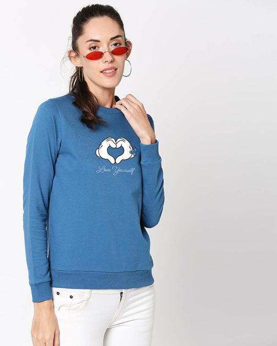 Shop Minnie Love Yourself Fleece Sweater AW19 (DL) Digital Teal -Back