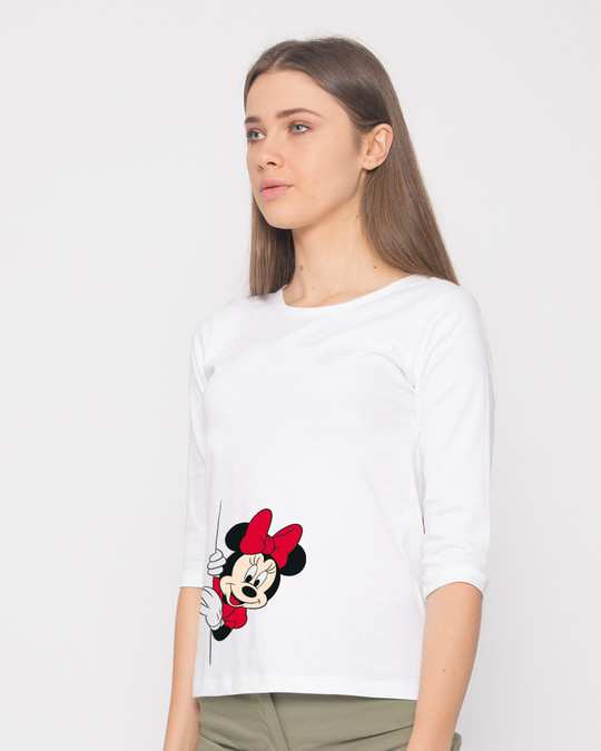 Shop Minnie Says Hi Round Neck 3/4th Sleeve T-Shirt (DL)-Back