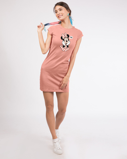 Shop Minnie Says Omg Cap Sleeve T-Shirt Dress-Design
