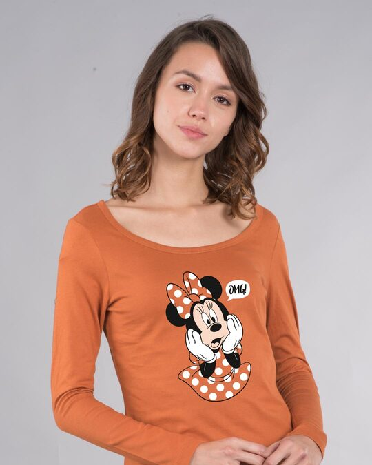 Shop Minnie Says Omg Scoop Neck Full Sleeve T-Shirt (DL)-Front