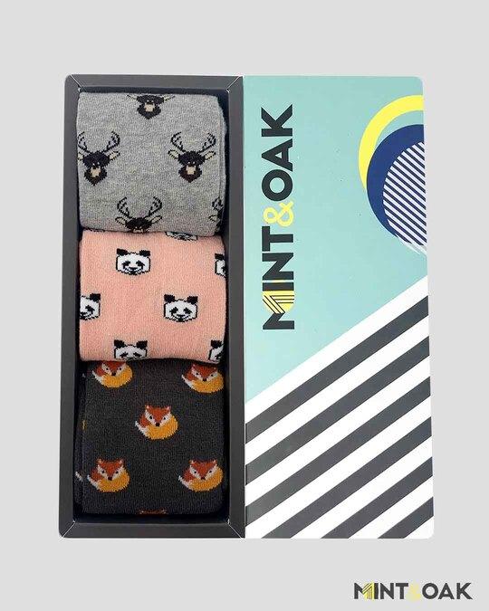 Shop Gift Box Of 3 Socks   Animal Kingdom-Front