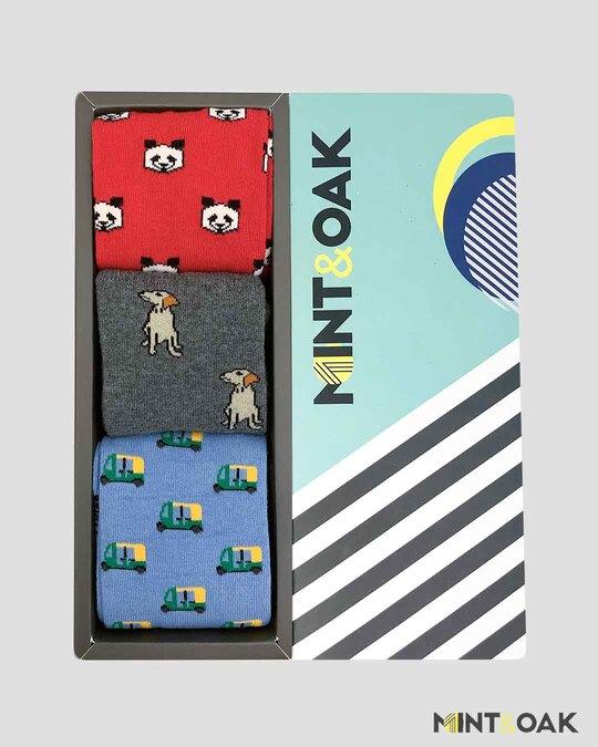 Shop Mint & Oak Gift box of 3 Socks - HANDPICKED-Front