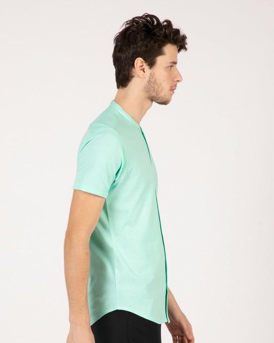Shop Mint Green Mandarin Collar Pique Shirt-Back