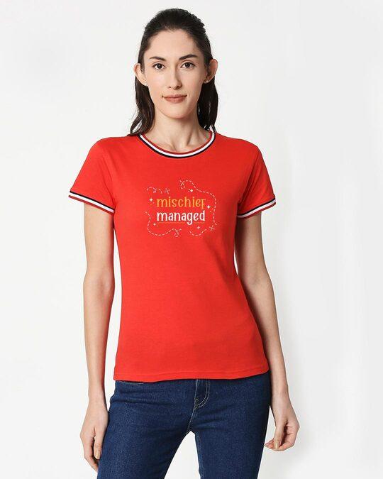 Shop Mischief Managed Crewneck Varsity Rib T-Shirt - Multicolor-Front