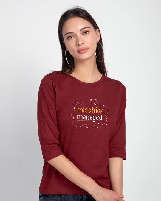 Shop Mischief Managed Round Neck 3/4th Sleeve T-Shirt Scarlet Red-Front