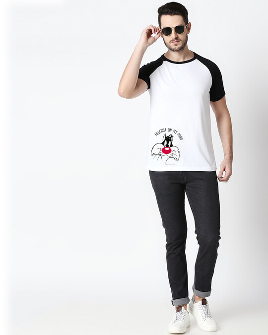 Shop Mischief On My Mind Half Sleeve Raglan T-Shirt (LTL)  White-Black-Design