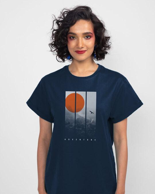 Shop Misty Hills Halftone Boyfriend T-Shirt Navy Blue-Back