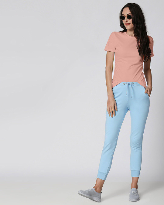 Shop Misty Pink - White Contrast Side Seam T-Shirt-Full