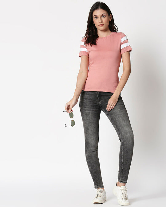 Shop Misty Pink - White Double Tape T-Shirt