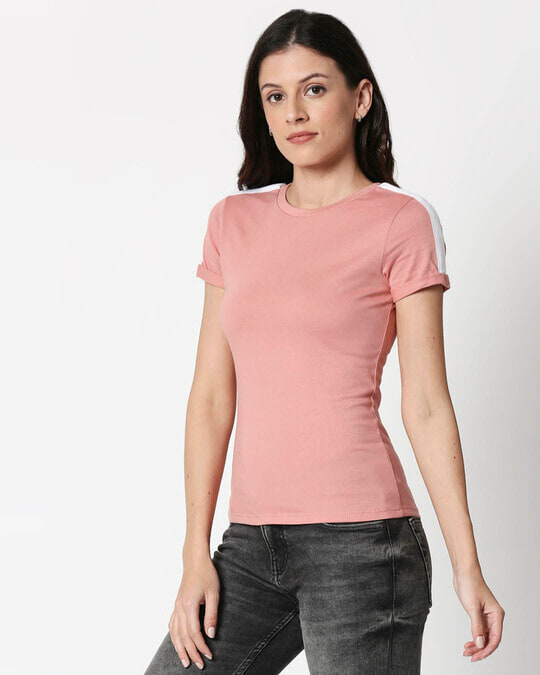 Shop Misty Pink -White Shoulder Sleeve T-Shirt-Back