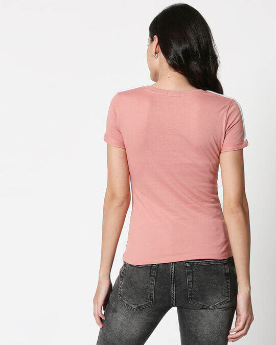 Shop Misty Pink -White Shoulder Sleeve T-Shirt-Full