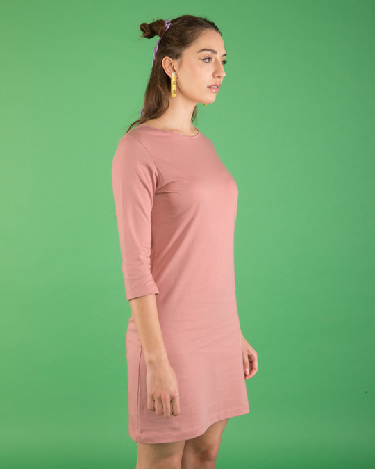 Shop Misty Pink Boat Neck 3/4th Sleeve Dress-Full