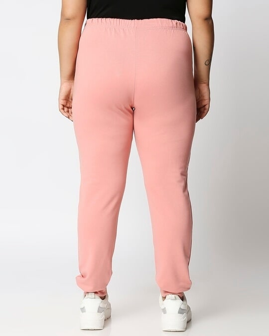 Shop Misty Pink Plus Size Casual Jogger Pants-Design