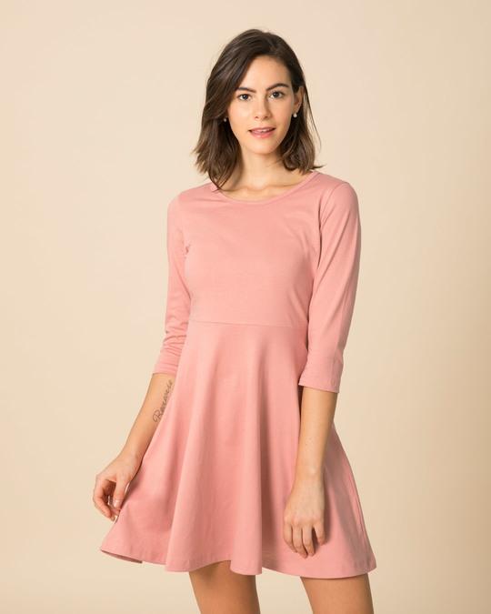 ae08520198c4d Buy Misty pink Plain 3/4 Sleeve Dress For Women Online India ...