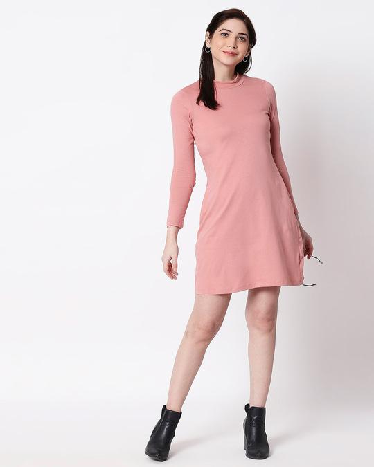 Shop Misty Pink High Neck Pocket Dress