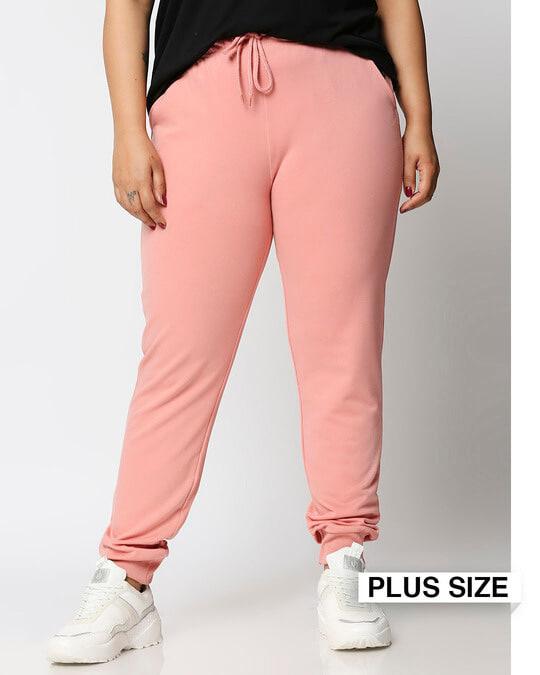 Shop Misty Pink Plus Size Casual Jogger Pants-Front