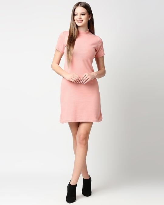 Shop Misty Pink Women High Neck Rib Dress