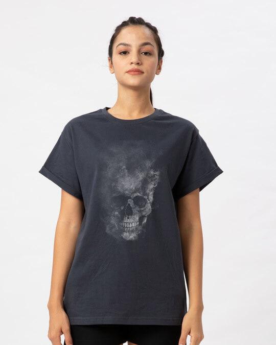 Shop Misty Skull Boyfriend T-Shirt-Front