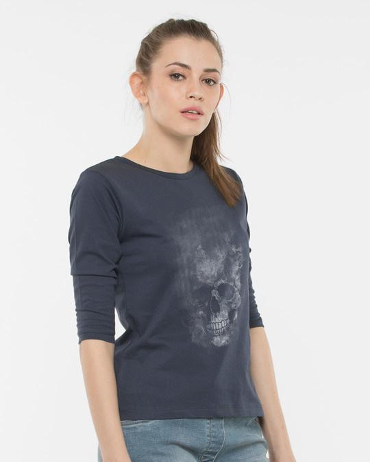 Shop Misty Skull Round Neck 3/4th Sleeve T-Shirt-Back