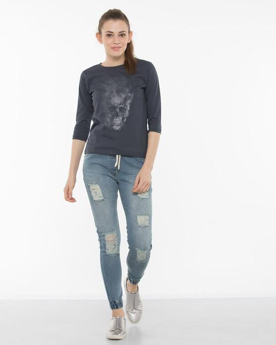 Shop Misty Skull Round Neck 3/4th Sleeve T-Shirt