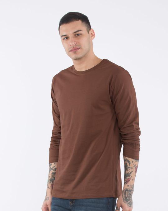Mocha brown full sleeve t shirt plain mens full sleeve t for Best full sleeve t shirts