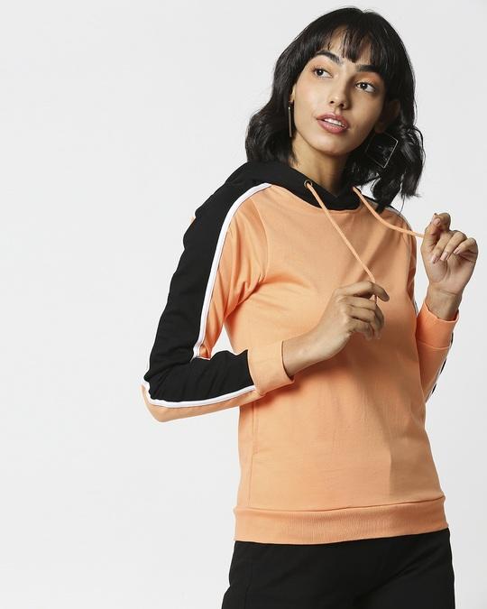 Shop Orange Rush Shoulder Sleeves Fleece Hoodie-Back