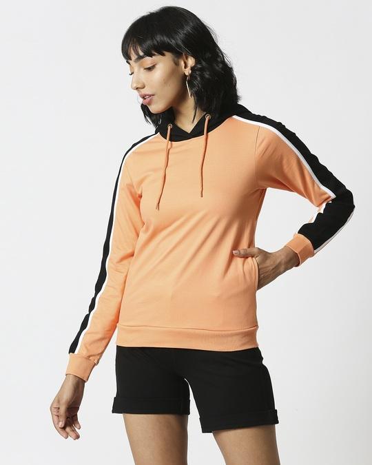 Shop Orange Rush Shoulder Sleeves Fleece Hoodie-Design