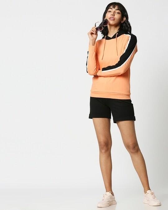 Shop Orange Rush Shoulder Sleeves Fleece Hoodie