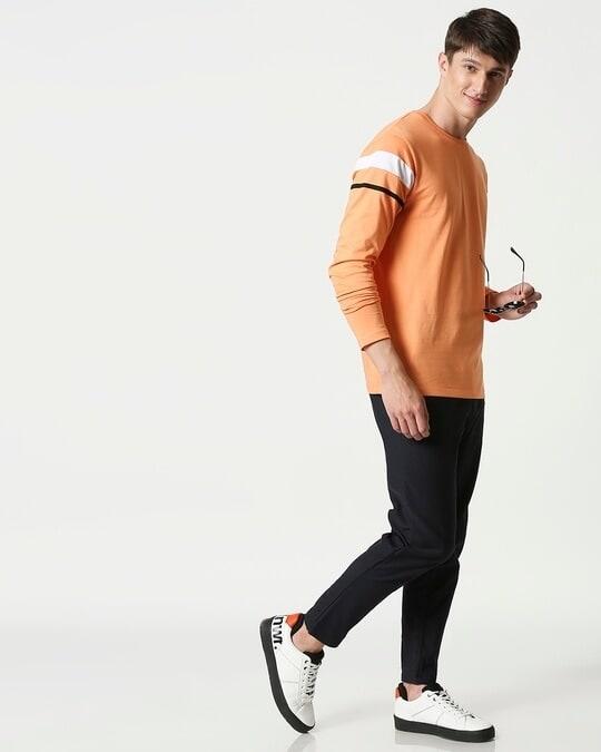 Shop Orange Rush Sports Trim Full Sleeves