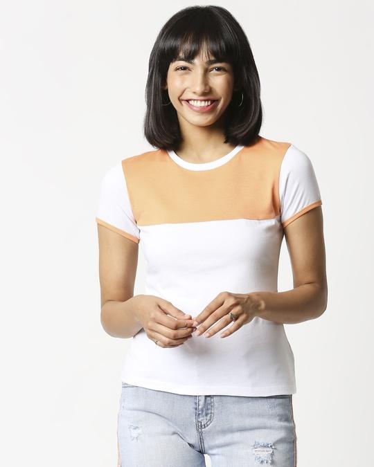 Shop Orange Rush Color Block Half Sleeves T-Shirt-Back