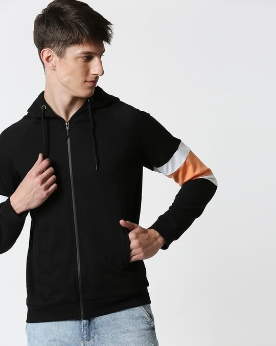 Shop Orange Rush Sports Trim Zipper Hoodie-Back