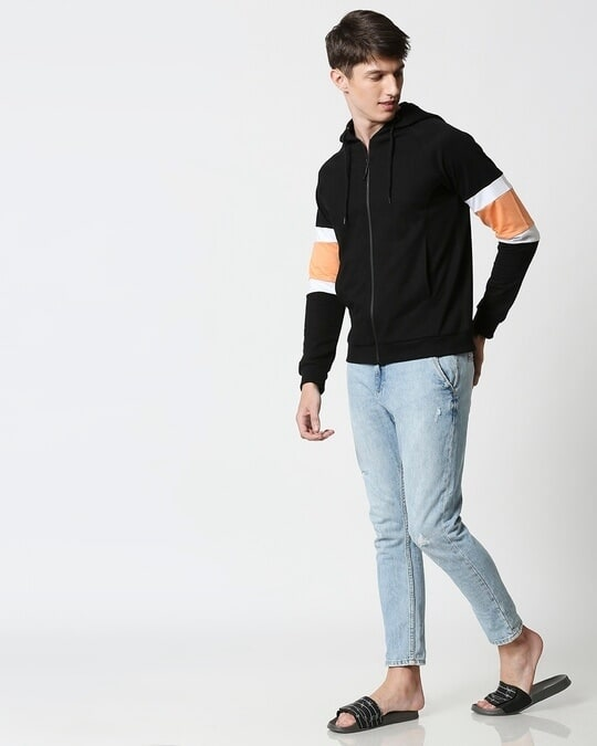 Shop Orange Rush Sports Trim Zipper Hoodie